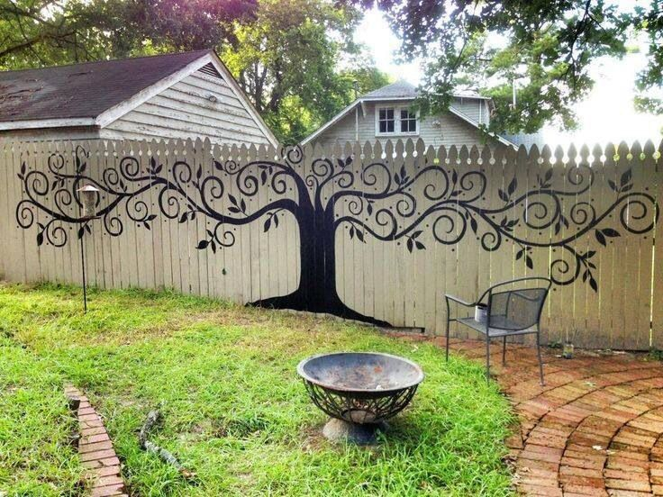 Painted Mural On Wooden Fence